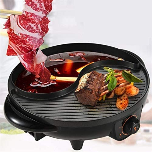 Électrique Hot Pot avec Grill Multifonctionnelle grande capacité Cuisinière intégré antiadhésifs Shabu pour le dîner et soirée des ménages, 2000W