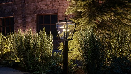 Luxury French Country Outdoor Post Light, Medium Size: 18''H x 9.5''W, with Mediterranean Style Elements, Soft and Simple Design, Inky Black Silk Finish and Seeded Glass, UQL1203 by Urban Ambiance by Urban Ambiance (Image #1)
