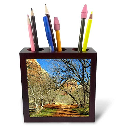 3dRose Jos Fauxtographee- Zion National Park - A Trail in Zion National Park of Utah with Trees and Burnt Orange - 5 inch Tile Pen Holder (ph_318882_1)