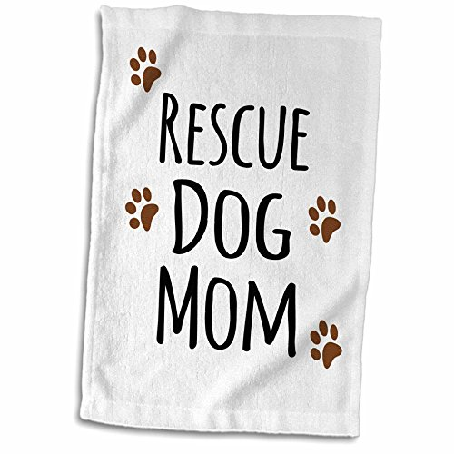 (3dRose InspirationzStore Pet Designs - Rescue Dog Mom - Doggie by Breed - Muddy Brown paw Prints - Doggy Lover - Proud pet Owner Mama Love - 15x22 Hand Towel)