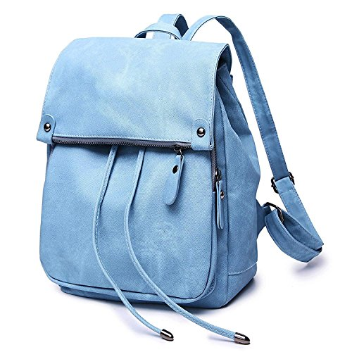 Fashion Rucksack Women School for Backpack Waterproof Theft Drawstring Purse Bag Shoulder Anti Blue Leather 0rrUwtaq