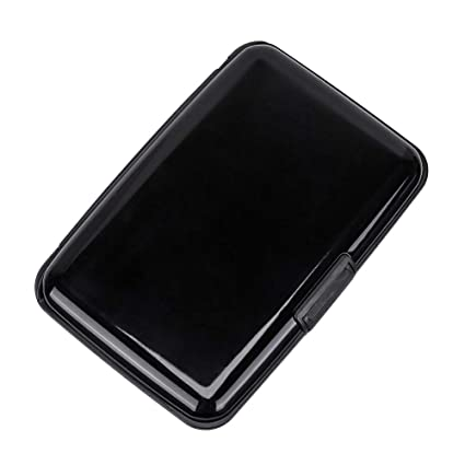 new product 9443d 99c0a Elfish RFID Blocking Credit Card Protector Aluminum ID Case Hard Shell  Business Card Holders Metal Wallet for Men or Women (Black)