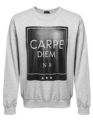 Detailorpin Mens Long Sleeve Crewneck Pullover Casual Printed Sweatshirt
