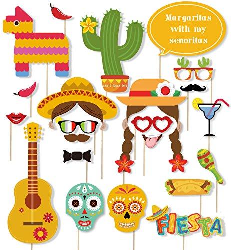 40 PCS Cinco De Mayo Photo Booth Props - Fiesta Mexican Party Decorations Supplies (Cinco De Mayo Props)
