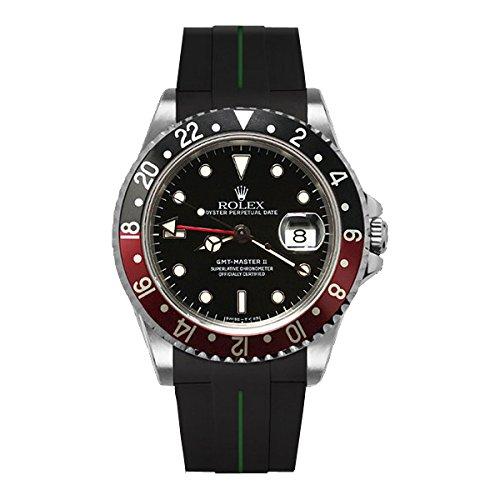 [ラバービー] RubberB ラバーベルト ROLEX GMTマスターII専用ラバーベルト(ROLEX純正バックルを使用)(ブラック×グリーン)※時計は付属しません(Watch is not included)[並行輸入品]  B01IF2W0F2