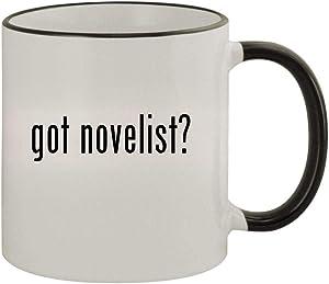 got novelist? - 11oz Ceramic Colored Rim & Handle Coffee Mug, Black