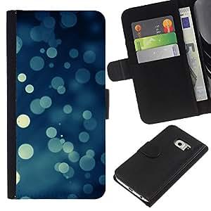 KingStore / Leather Etui en cuir / Samsung Galaxy S6 EDGE / Bokeh copos de nieve Nevando Navidad