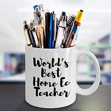 La mejor taza de café para profesores de economía doméstica del mundo - 11 oz de regalo blanco para el profesor de economía doméstica, mamá, papá, amigo, colega, amante en Navidad, día del maestro