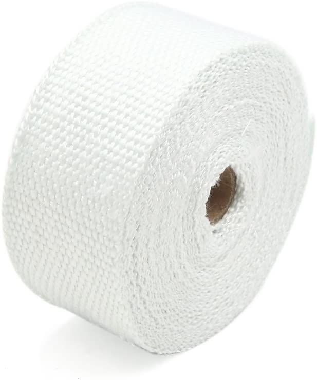 uxcell White Fiberglass Exhaust Pipe Wrap Tape Turbo Heat Insulation Cloth 10M Long