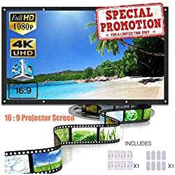 SA Design 120 inch Projection Screen 16:9 HD Light-Weight Foldable Portable Anti-Crease Movie Screen Indoor Outdoor Home Theater/Camping/Education/Presentations Support Front and Rear Projection
