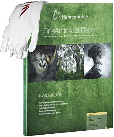 Photolux Profi-Set: Hahnemühle Natural Line Bamboo Fibre 290 g/m² in A4 25 Blatt FineArt Fotopapier im Set mit Baumwollhandschuhe