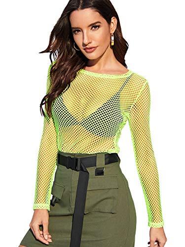 SweatyRocks Womens Fishnet Sleeve Through product image