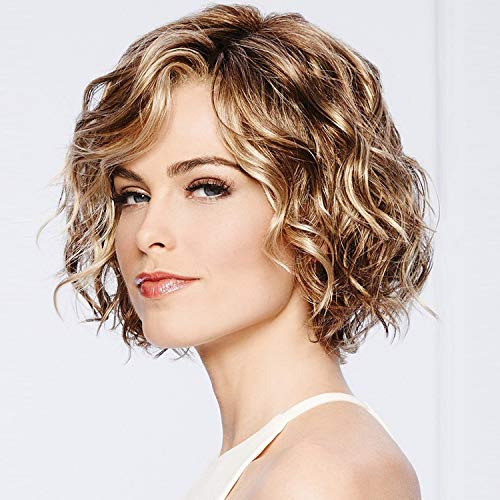 GNIMEGIL Mixed Brown Hair Color Trendy Hairstyles Short Deep Wave Hair Replacement Full Wigs for Women