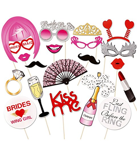 Bridal Party Frame (DECORA 20 Pieces Wedding Bachelorette Hen Party Bride Party Photo Booth Props Mustache DIY Kits Lips Single Party Wedding Decor)
