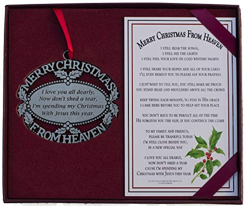 Personalized Memorial Christmas Ornament - Custom Engraved Merry Christmas From Heaven