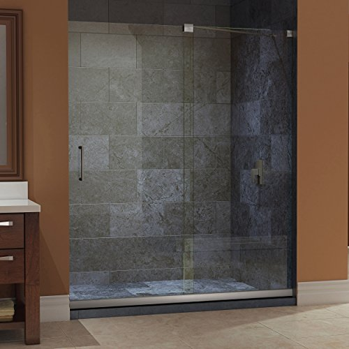DreamLine Mirage 32 in. D x 60 in. W Kit, with Sliding Shower Door in Brushed Nickel and Right Drain White Acrylic Base (Shower Wall Kit)