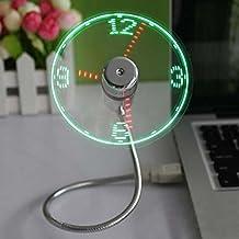VANKER 1Pc USB LED Fan Clock Office Desk Gadget With Adjustable Flexible Gooseneck