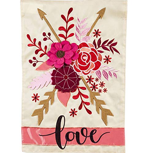 Evergreen Applique House Flag - Valentine's Love
