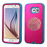 Samsung Galaxy S6 SM-G920 Android Cell Phone Protective Dual Cover Shock-absorbent Silicone Hard Durable with Bling Volleyball & Water Polo Swarovski Crystal Rhinestone Bling Design (Pink Cover)
