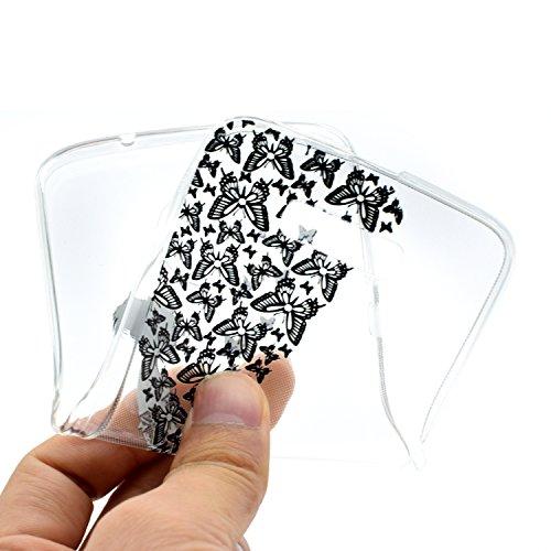 iPhone Moto Z / Z Droid Coque , Leiai Mode Fille papillon Clear Silicone Doux TPU Housse Gel Etui Case Cover pour Apple iPhone Moto Z / Z Droid
