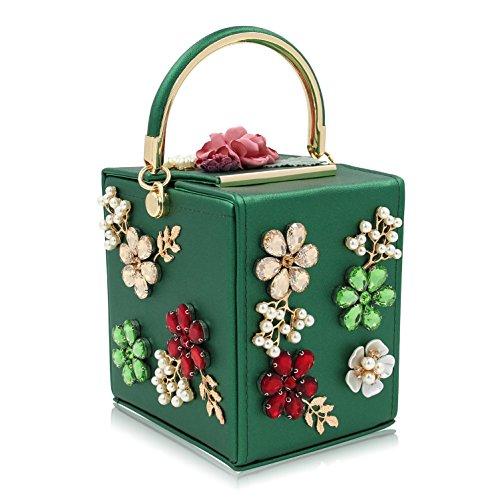 pelle green borse sera borse nozze donne frizioni borse perla cristallo in KYS di green fiore frizione t6Xxqa