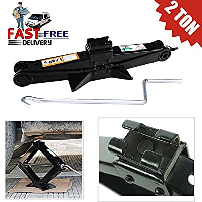 Automotive Scissor Car Jack 2 Ton (4400lb) + Speed Crank Handle - Adjustable Height 105-385mm for Tire Lift Repair Change Garage Tools US Ship