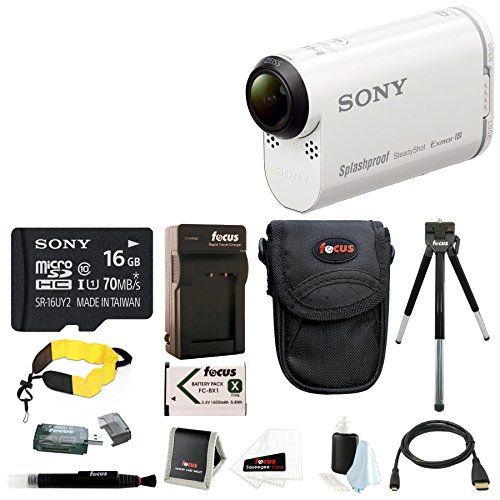 Sony AS200V HDRAS200V HDRAS200V/W Full HD Action Cam + Sony 16GB Class 10 Micro SDHC + EXTRA Battery and CHARGER+ HDMI cable+ Card Reader + Case + Foam Float Strap+ Cleaning Kit