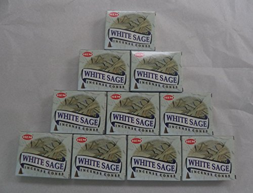 HEM Incense Cones: White Sage - 10 Packs of 10 Cones = 100 Cones