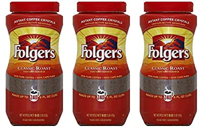 Folgers Classic Roast Instant Coffee Crystals - 16 Oz (Pack of 3) by Folgers