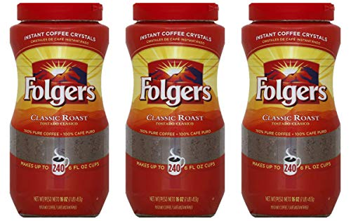 Coffee Instant Folgers - Folgers Classic Roast Instant Coffee Crystals - 16 Oz (Pack of 3)