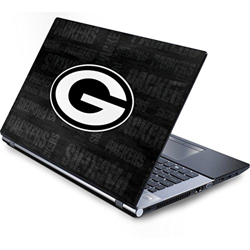 Skinit NFL Green Bay Packers Generic 13in (12.803in w X 8.996in h) Laptop Skin - Green Bay Packers Black & White Design - Ultra Thin, Lightweight Vinyl Decal Protection (Generic Bay Green Laptop Packers)