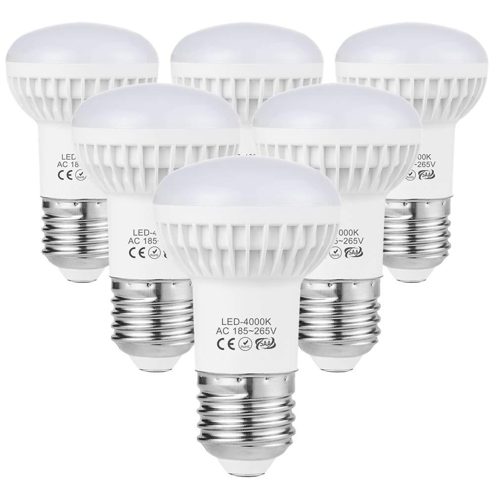 R50 Edison LED Bulb Non-Dimmable E27 ES 7W 3000K Soft White (60W Incandescent Equivalent), Wide Flood Light Bulb Screw E27 R50 LED Spotlight Bulb 700LM Wide Volt 185-265V 6-Pack