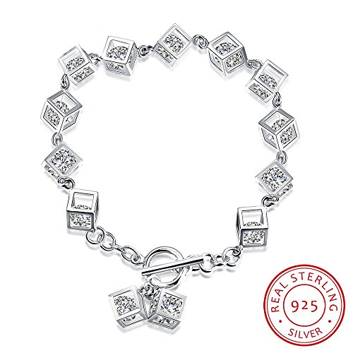 BALANSOHO 925 Sterling Silver Square Tennis Bracelet with Cubic Zirconia for Women Girls, Love Gifts 7''