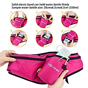 "Fanny Pack FILWO Waist Pack with Water Bottle Holder Fits Large Smartphones iPhone 7 Plus/7/6S Water Resistant Running Belt Size 32.2""-42.5"" Reflective Bum Bag for Running Hiking Workout (Pink)"