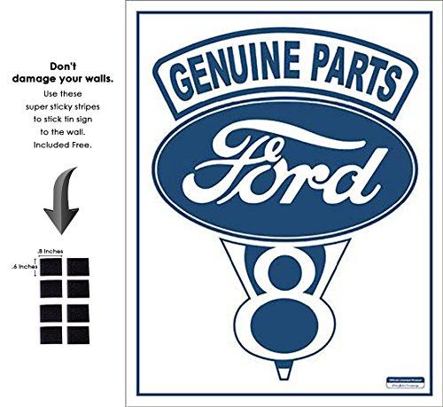 - Shop72 - Tin Sign Ford V-8 - Genuine Parts Vintage Tin Sign Retro Metal Sign