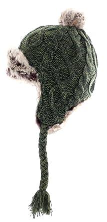 42c52d0ec423c B00QITVD3UAran Traditions Knited Faux Fur Winter Warm Dark Green Trapper Hat(Size:  One Size