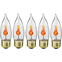 Creative Hobbies® 10J Flicker Flame Light Bulb -Flame Shaped, E26 Standard Base, Flickering Orange Glow - Box of 5 Bulbs