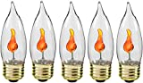 Tools & Hardware : Creative Hobbies 10J Flicker Flame Light Bulb -Flame Shaped, Standard Base, Flickering Orange Glow - Box of 5 Bulbs