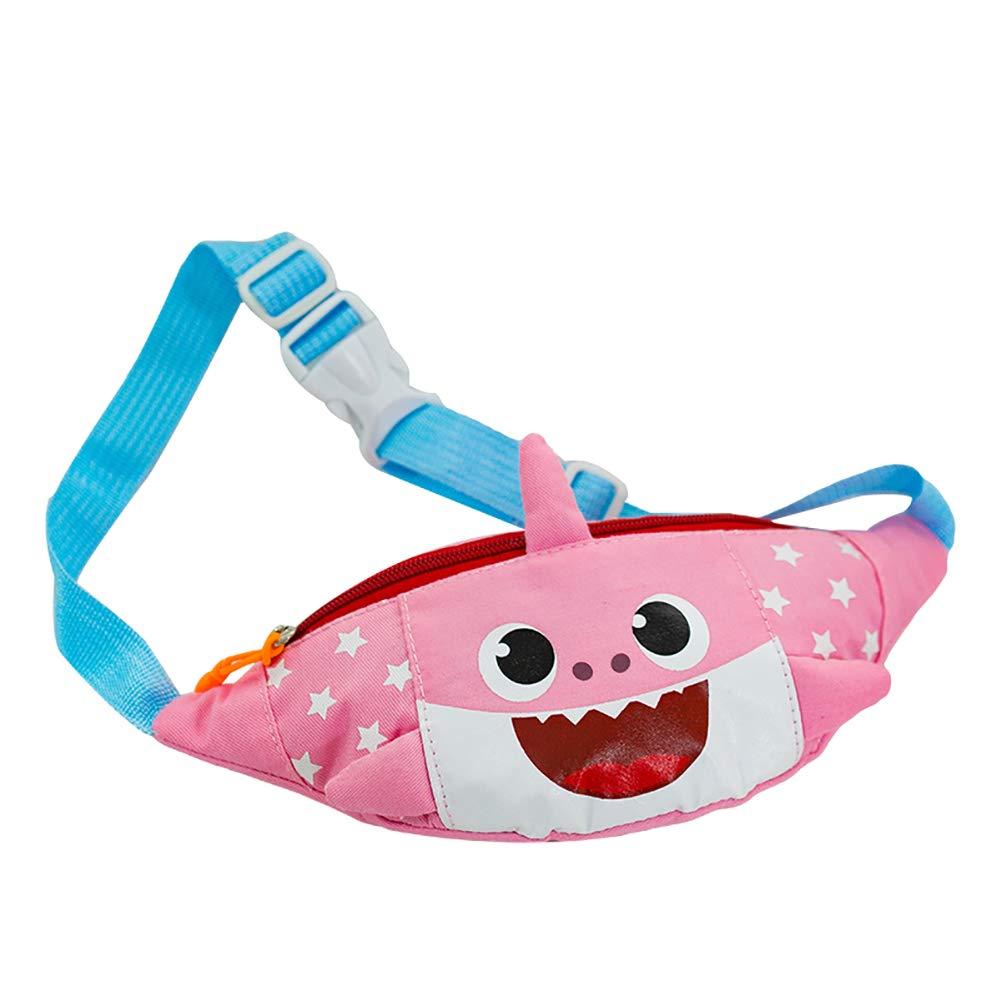 eroute66 Lovely Cartoon Shark Canvas Waist Bag Adjustable Strap Kids Crossbody Pouch - Pink