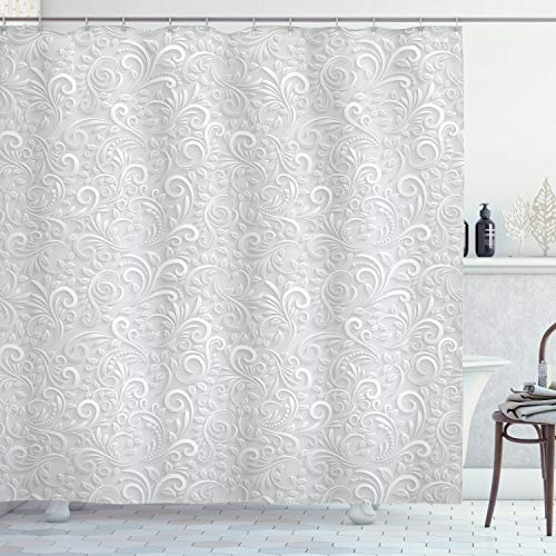 Ambesonne Grey Shower Curtain, Classic Floral Swirling and Curving Victorian Pattern Embossing Effect Branches Art Graphic, Cloth Fabric Bathroom Decor Set with Hooks, 75