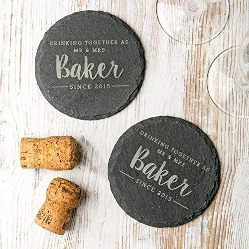 Personalized Slate Coasters For Couples/Natural Slate Coasters/Personalised Wedding Gifts For Bride And Groom/Wedding Anniversary Gifts