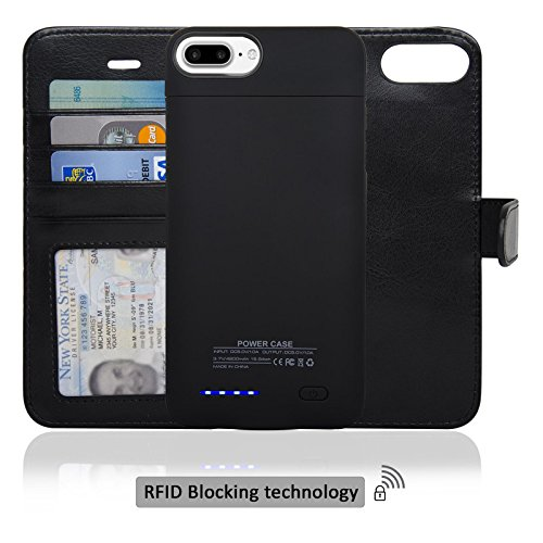 Navor Folio Wallet Magnetic Detachable Power Battery Case 4200mAh for iPhone 7 Plus / 6 Plus [5.5 Inch] - Black