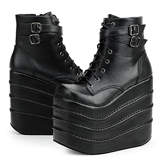 PP FASHION Women's High Platform Lace Up Stomp Sneaker Fashion Cosplay Queen Boots Black - Platform Sneakers Spice Girls