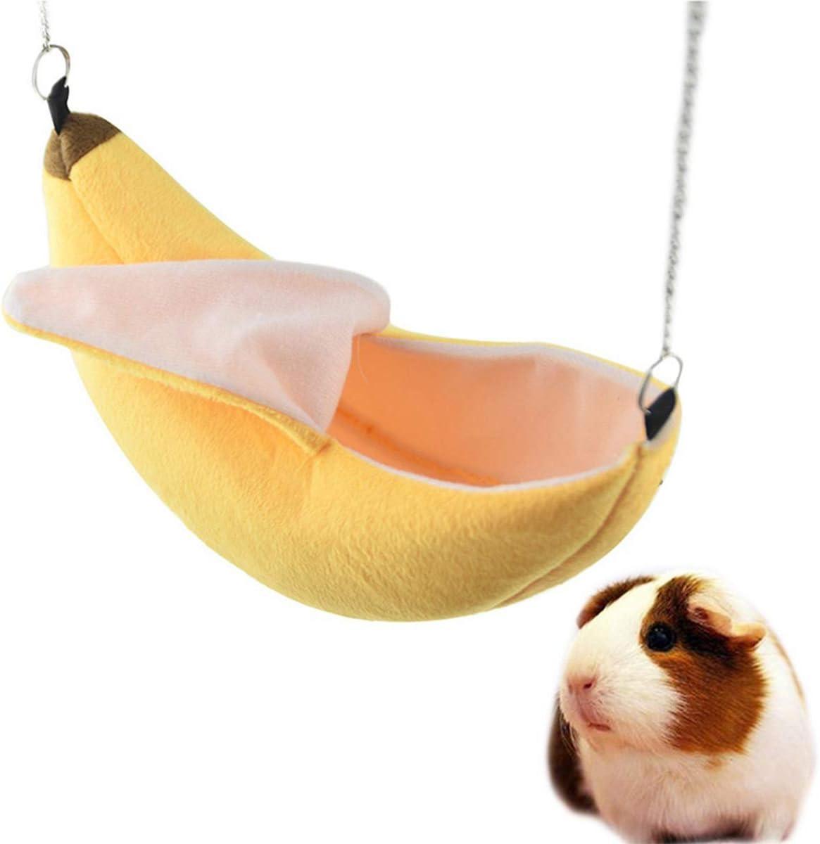 Hámster Casa Colgada Hamaca Diseño de Plátano Animales Pequeños Jaula de Algodón Dormir Nido Mascota Cama Rata Hamster Juguetes Jaula Columpio (Color : Yellow)