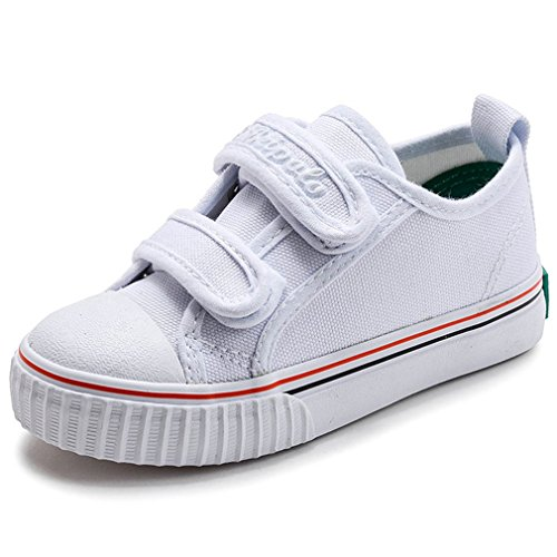 Hoxekle Girls Boys Canvas Sports Tennis Walking Sneakers Breathable Athletic Running Shoes Kids Toddler