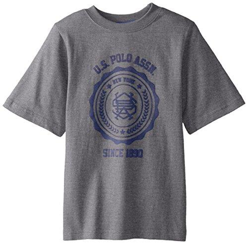 Logo Print Polo - U.S. Polo Assn. Big Boys' Logo Print T-Shirt, Medium Gray, 10/12
