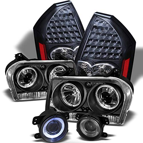 Assembly Headlight 300 Chrysler - Xtune for 2005-2007 Chrysler 300 Black Halo Projector Headlights w/LED + LED Tail Lights + Halo Projector Fog Lamps 2006
