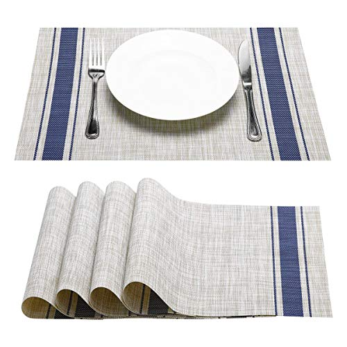 NJCharms Placemats Set of 4, Heat Resistant Washable Nautical Blue Placemats for Dining Kitchen Table Environmental PVC Wipeable Crossweave Vinyl Woven Placemats Table Mats Easy to Clean, Royal Blue