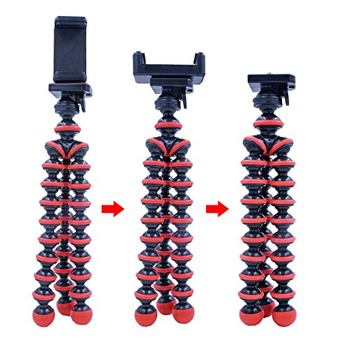 Phone Tripod,3Csmart Portable and Adjustable Octopus Camera Stand Holder with Bluetooth Remote Control and Universal Clip for iPhone, Cell Phone,Camera,Sports Camera GoPro(Red)