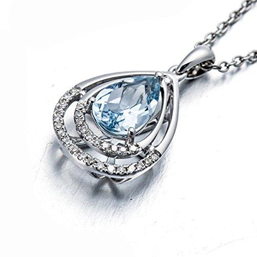 Hutang Pierre précieuse massif Or blanc 18ct Diamant naturel et 1.10CT aigue-marine Pendentifs et colliers pour femme fine Diamond-jewelry